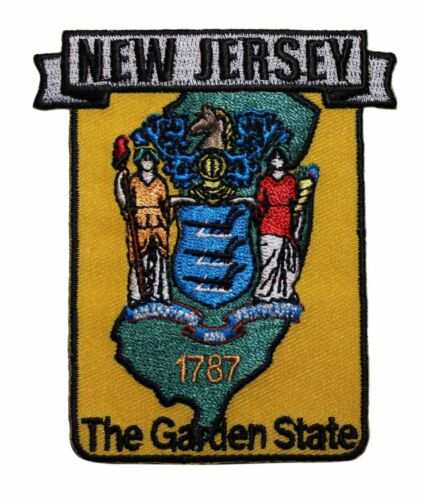 State Of New Jersey Embroidered Iron On Patch Garden Travel Souvenir 217-D