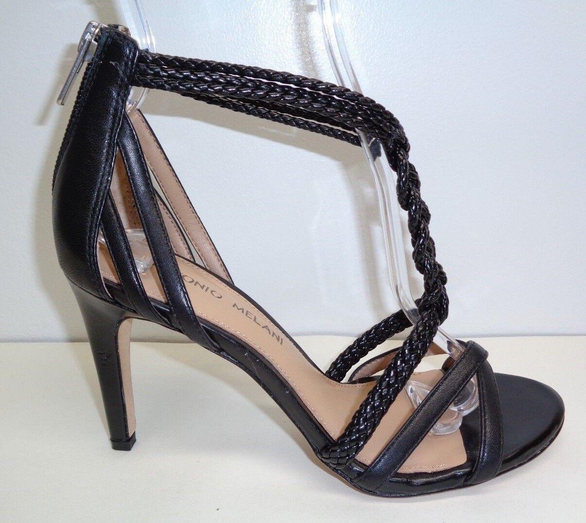 Antonio Melani tamaño 9.5 M questa Negro Cuero Cuero Cuero Trenzado Sandalias nuevo Zapatos para mujer 481564