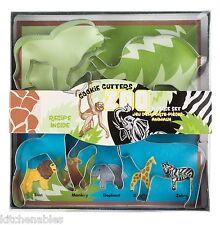 Fox Run 5 Piece Zoo Animal Cookie Cutter Set Lion Monkey Giraffe Elephant Zebra