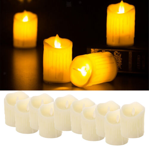 10x Battery Operated Pillar Wedding Dripping Wax Swinging Flame LED Candle