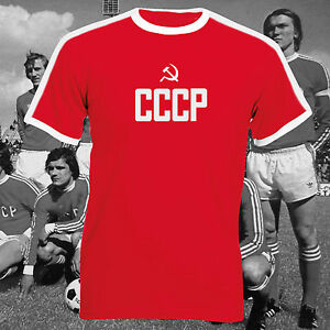 Cccp-Russe-Football-Union-Sovietique-Qualite-Premium-USSR-Unisexe-Un-Rayure-Polo