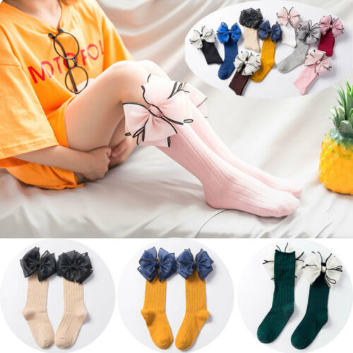 Pretty Girl Cotton Soft Candy Color Baby Sock High Knee Sock Long Socks Big Bow