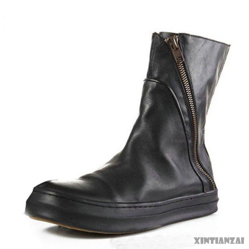Para Hombre Elegante Piel Mitad de Pantorrilla Puntera rojoonda Cremallera Lateral Zapatos botas de montar Heighten Cálido 2019