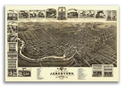 1882 Jamestown New York Vintage Old Panoramic NY City Map 16x24