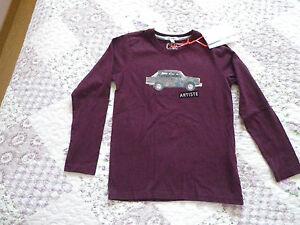 Tee-shirt-garcon-MARESE-en-8-ans-bordeaux-Mulato-voiture-coton-NEUF-etiquette