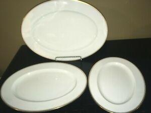 Set-of-3-Noritake-CORONET-Oval-Platters-17-034-14-3-4-034-12-1-2-034-Gold-Trim