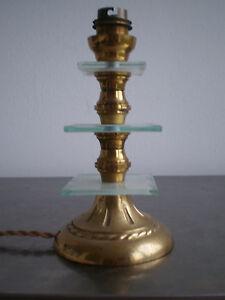 PIED-DE-LAMPE-BRONZE-ET-VERRE-DECO-DESIGN-1950-LAMPE-LUMINAIRE-ANCIEN-TBE