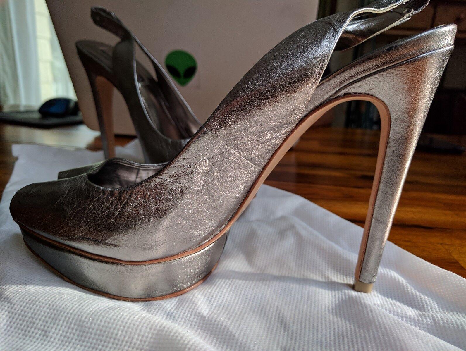 BCBG Maxazria Fennel Peep-Toe Slingback Heels Size - Metallic - Size Heels 8 e656b7