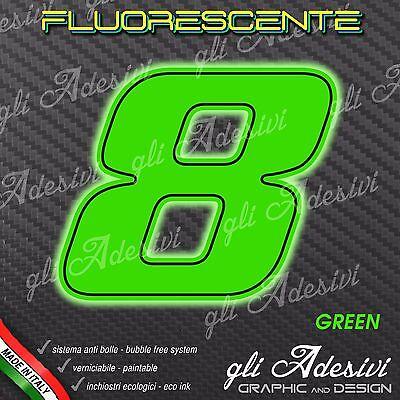 Adesivo Stickers Numero 8 Moto Auto Cross Gara Verde Fluorescente 10 Cm