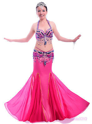 Performance Belly Dance Costume 3 Pics Bra&Belt&Skirt 34B/C 36B/C 38B/C 10 Color