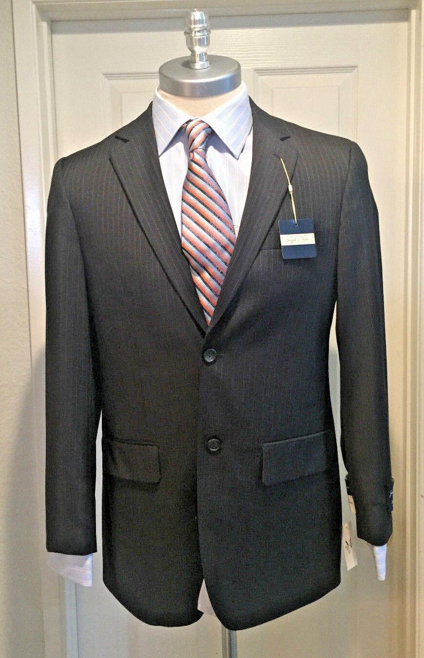 Joseph & Fiess 100% Wool Charcol Blazer with Pinstripes Super 100's 38 Regular