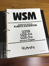 KUBOTA U25S U20-3A U25-3A EXCAVATOR Workshop Service Repair Manual BINDER