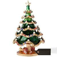Hand Painted Holiday Christmas Tree Ornament W/24k Gold & Crystals By Matashi on sale