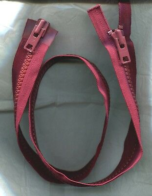 22 inch YKK #8D Burgundy Vislon Separating 2 Way 2 Nesting Pulls Zipper NOS