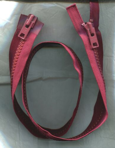 36 inch YKK #10V Burgundy Vislon Separating 2 Way 2 Pulls Zipper NOS