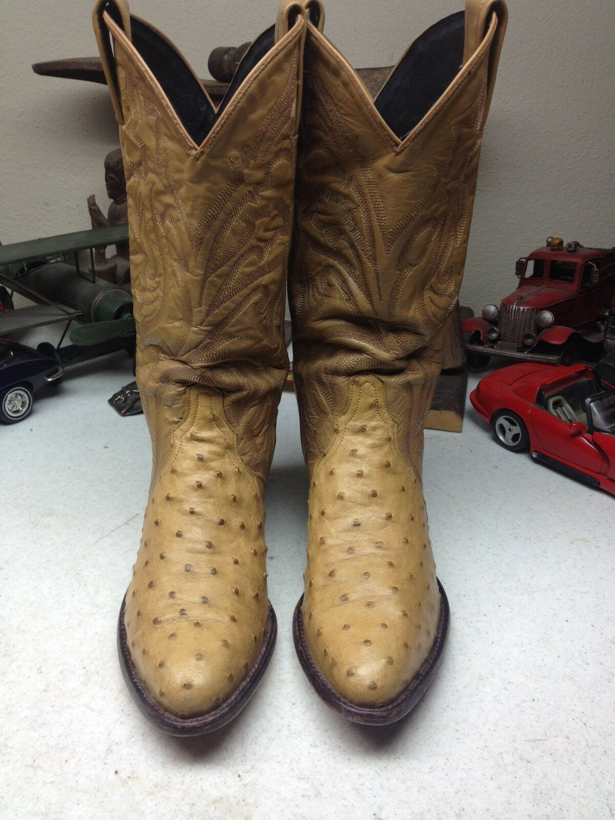 VINTAGE TONY LAMA USA BROWN GOLD OSTRICH LEATHER DANCE RODEO RANCH BOOTS 7 M