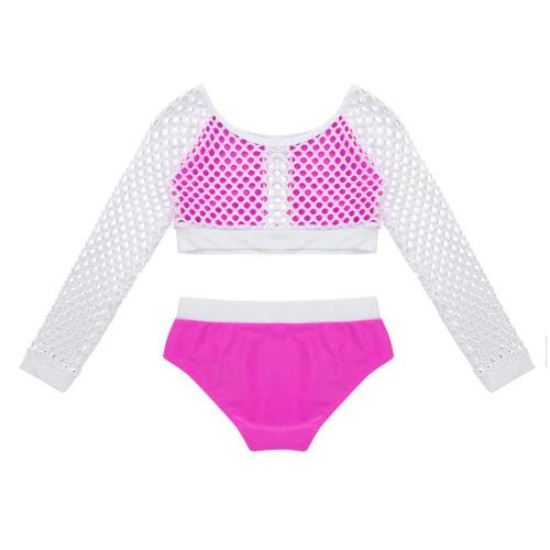 Kid Girl Lyrical Dance Dress Lace Crop Tops+Bottoms Set Modern Dancewear Costume
