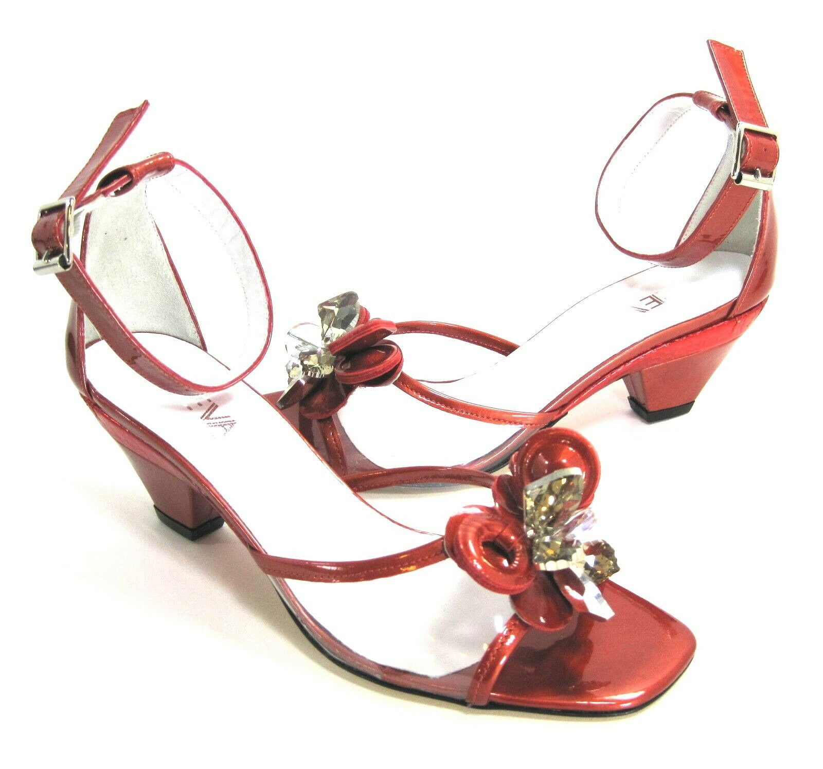 PREVATA SASH ANKLE-STRAP SANDALS RED PATENT VINYL SYNTHETIC US SIZE 7 NARROW (N)