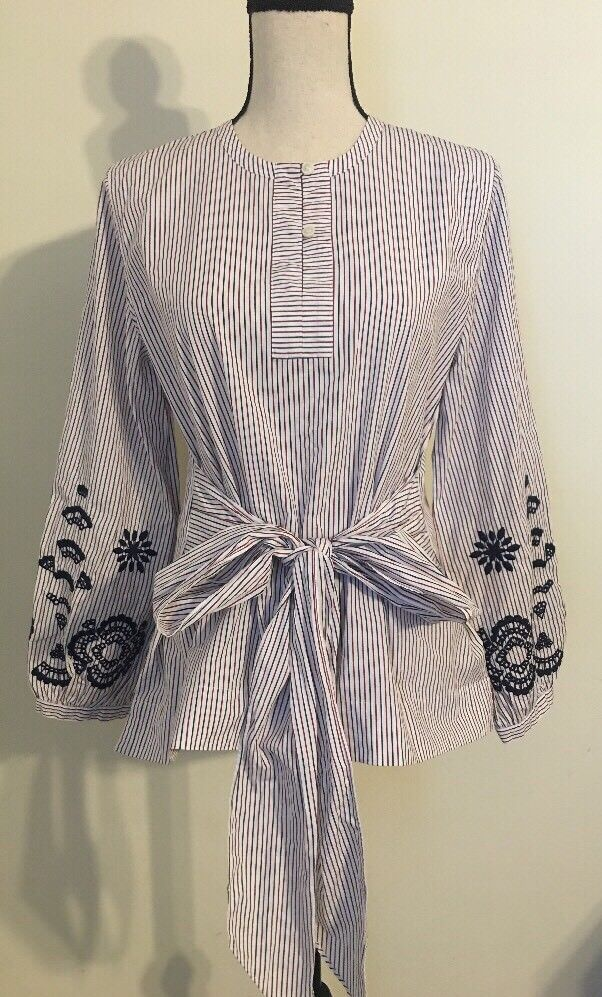 NEW JCREW Embroiderot tie-front tunic GrößeS Multi Farbe H0854