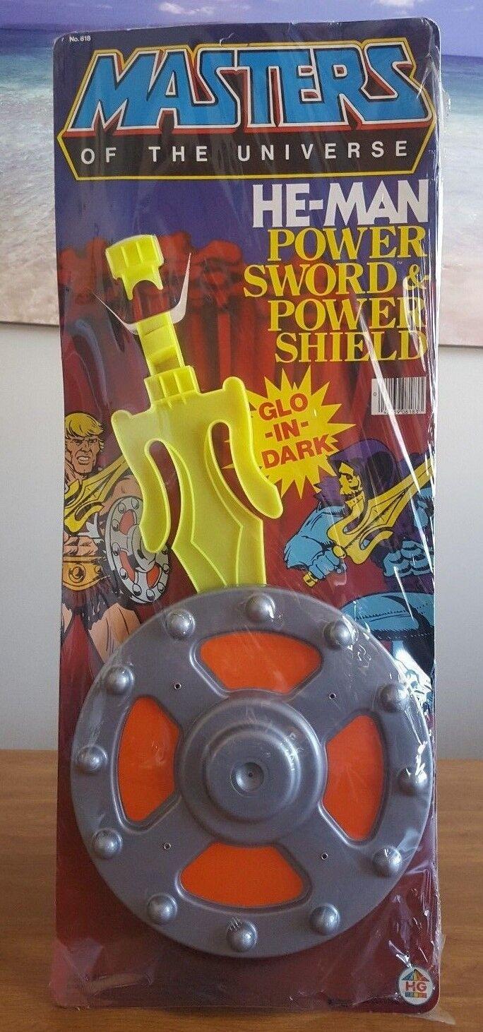 1983 HE-MAN POWER SWORD & POWER SHIELD GID GID GID MOTU MASTERS UNIVERSE MOC MIB AFA IT  c34bbd