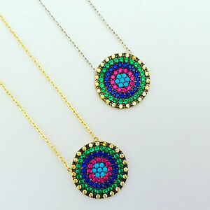 925-Sterling-Silver-Gold-Cubic-Zirconia-Turquoise-Evil-Eye-Mati-Nazar-Necklace