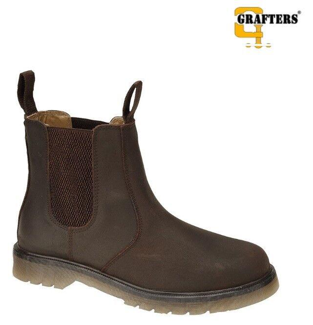 Grafters Leder Dealer Uppers & Lining Chelsea Dealer Leder Stiefel  Uomo Oily Braun Größe 3174a2