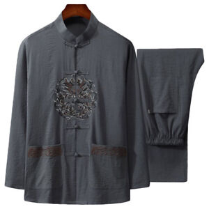 Chinese-Style-Men-039-s-Cotton-amp-Linen-Martial-Arts-Clothing-Kung-Fu-Tang-Tai-Chi-Suit