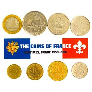 FRANCE-SET-OF-8-COINS-5-10-20-CENTIMES-1-2-1-2-5-10-FRANCS-FRENCH-COIN