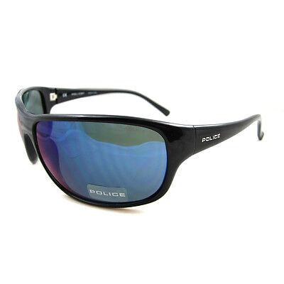 Police Sunglasses 1668 Z42B Shiny Black Blue Mirror