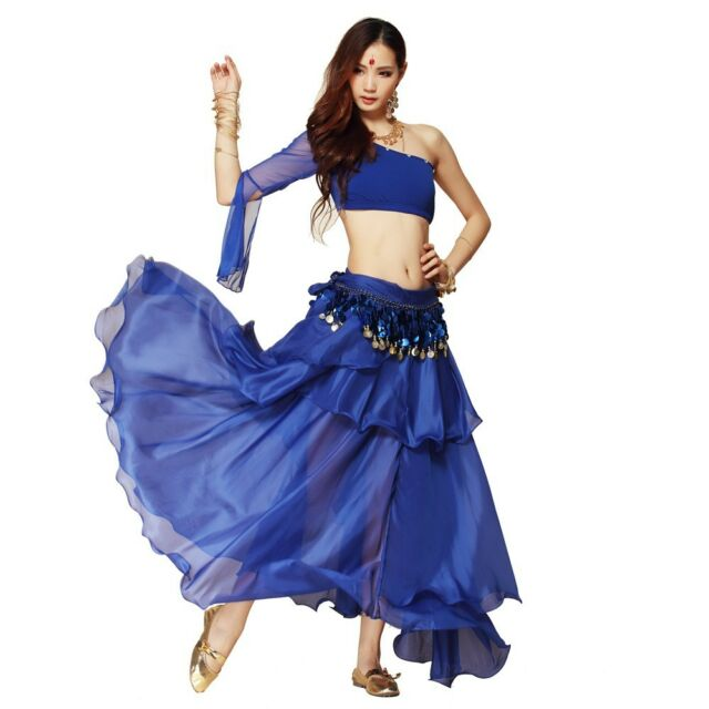 Chiffon Dancing Costume Belly Dance Spiral Long 3 Layers Skirt Top Belt 8 Colors