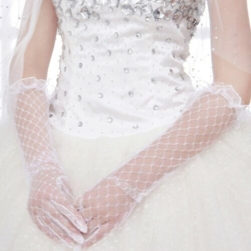 Women White Lace Bridal Long Gloves Elbow Length Full Finger Wedding Accessories
