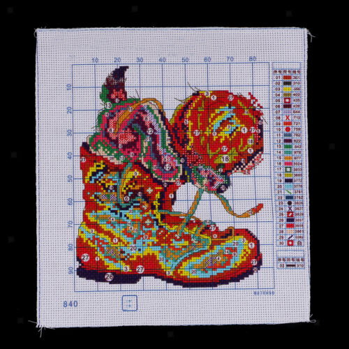 Boots and Dog Pre Printed Cross Stitch Kit for Beginners Stamped Pattern DIY