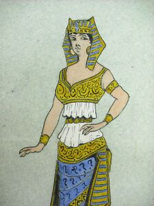 Doux André Borrel (?) Egypte Antique Egyptienne En Costume Cléopatre Dessin Original; Paquet éLéGant Et Robuste