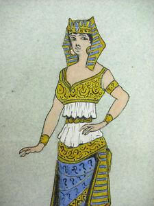 Doux André Borrel (?) Egypte Antique Egyptienne En Costume Cléopatre Dessin Original; Paquet éLéGant Et Robuste