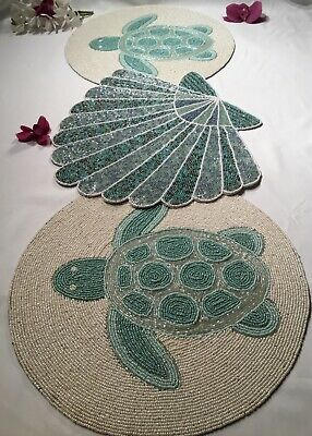 New Coastal 3 Pc Beaded Table Runner Sea Turtles Scallop Shell In Pastel Tones Ebay