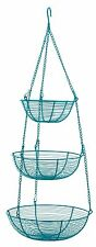 RSVP 3-Tier Turquoise Wire Kitchen Bath Laundry Hanging Storage Organize Baskets