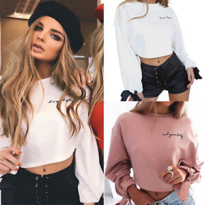 UK-Womens-Long-Sleeve-Sweater-Pullover-Crop-Tops-Hoodies-Sweatshirt-Jumper-TY
