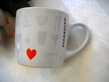 Starbucks 7.8oz Valentines Heart Key Crown Diamond Cherry Pretzel Coffee Cup Mug