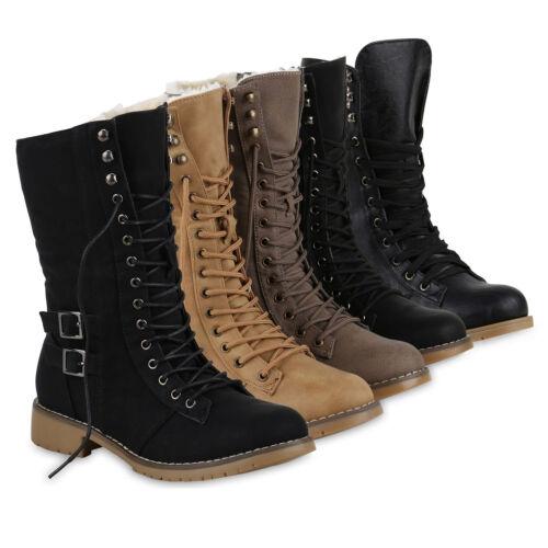 Damen Schnürstiefel Schnallen Profil Sohle Modische Stiefel 812646 Schuhe