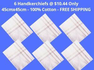 6-White-Mens-Handkerchiefs100-Pure-Cotton-Large-Pocket-Square-45x45-CM-Hanky