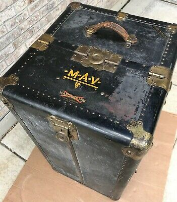 1900s Antique Gibraltarized Steamer Trunk Wardrobe Trunk Cushion Top Hartmann Ebay