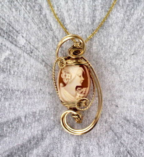 Wire Wrapped Vintage Antique Diamond Cameo Pendant Necklace Shell in 14KT Rolled Gold  Setting