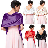 Fashion Women Ladies Purple Satin Scarves Formal Evening Shawl Party Wrap Scarf