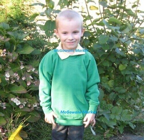 Boys Crew Neck School Sweatshirt Ages 3-12 Years Green Jumper 24-32 Inch