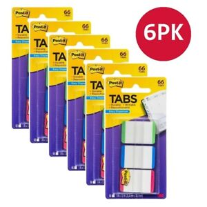6 x Post-It Tabs Easy Dispenser 25.4mm x 38.1mm PK66