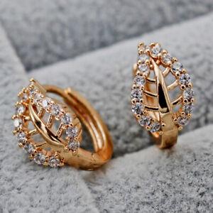 Zircon Gemstone Leaves Hollow Leaf Women Party Hoop Earrings 18K Gold Filled
