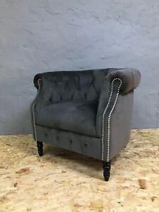 Alexander-James-Jude-chair-grey-velvet-Chesterfield-tub-silver-chrome-Dukes
