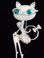 MOON STONE PLAY BOY SMART LOOKING SASSY DIVA CAT KITTEN PIN BROOCH JEWELRY 2.5""