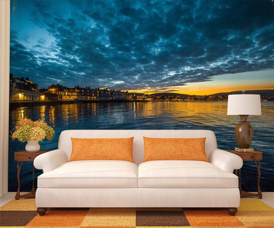 Huge 3D Lake Lights Night Paper Wall Print Decal Wall Deco Indoor Murals Wall