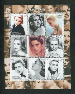 2000-Tajikistan-Commemorative-Souvenir-Stamp-Sheet-Actress-Grace-Kelly